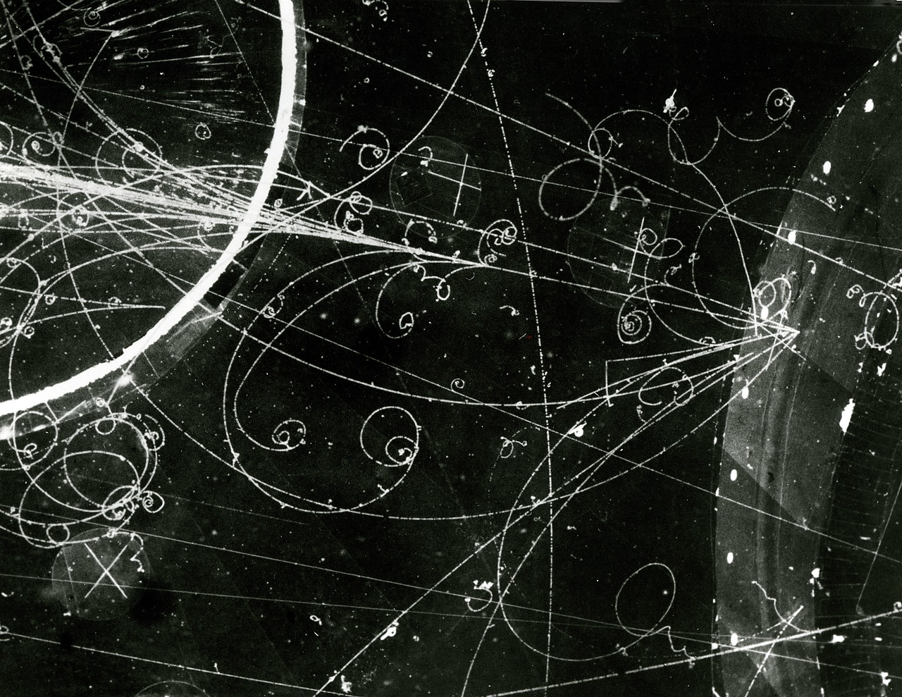 Particle tracks in bubble chamber. Courtegy of Brookhaven National Laboratory.